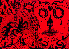 RED SKULL (CARTEL GRAPHICS) Tags: red black art animal animals illustration skull arte drawing tosco caveira ilustrao desenho ilustracion nankin