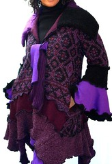 Plum Sweater Coat (brendaabdullah) Tags: wool recycled sweaters womens fuschia scarves jackets pieced brendaabdullah