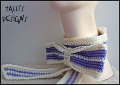 Sweetness Bow Neckwarmer - Cream and Lilac (by tallybates)