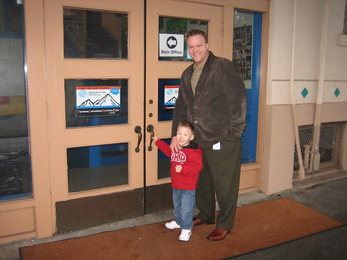 Daddy and me outside preschool on my first day
