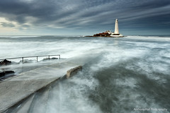 The tide is high (Azzmataz) Tags: sunset lighthouse st canon bay high tide wave tyne wear lee marys filters whitley anthonyhallphotography