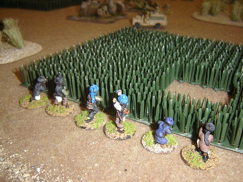 Group circles around to British left flank