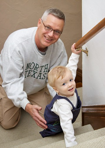 On the stairs with Grandpa