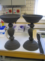 Candlesticks from 's-Hertogenbosch before conservation treatment.