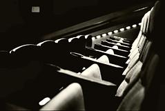 members of the audience (gabo_) Tags: leica bw film lights noir chairs kodaktrix cupholders leicam3 123bw summicron502 waitingforthemovie atthemovietheater