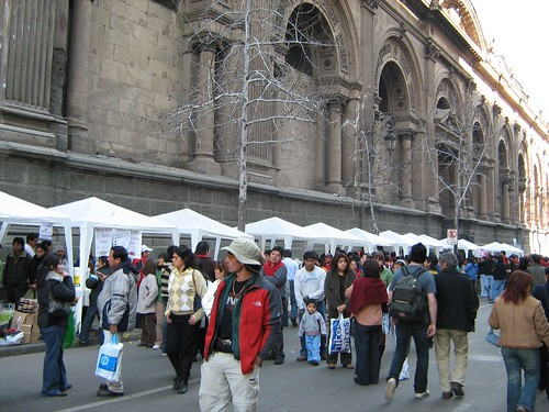 Food Stalls lined up next to the Santiago Metropolitan Cathedral