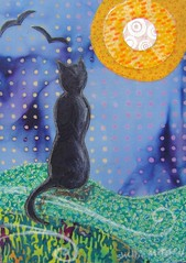 Black Cat Nights - Original Fabric on Wood art (shellieartist) Tags: wood blue original orange moon black green art fall night cat scary handmade kitty fullmoon fabric etsy bats holloween