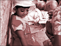 grace (ladyinpink) Tags: india girl beauty sepia coconut streetphotography grace moment roadside chennai elegance