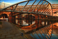 Castlefield Reflections (AtilaTheHun) Tags: uk reflections manchester moss footbridge castlefield whitebridge