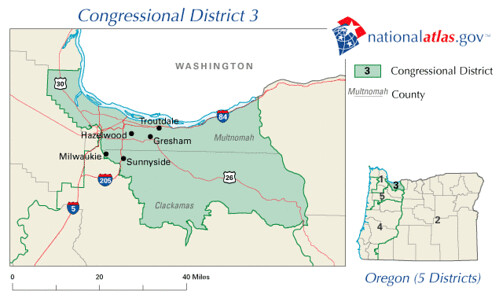 Oregon District 3 111th Congress as elected 4 November 2008