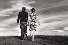 (eyebex) Tags: people blackandwhite bw up walking back hands couple walk away pregnant land 72 niki hold cool7 uncool2 iceboxcool nikilandprego