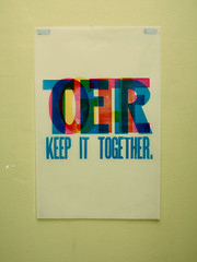 keep it together again. (teresa.d.w) Tags: blue red orange black colour green wall paper print poster purple gray violet theory printing printmaking material letterpress vellum woodtype cmyk