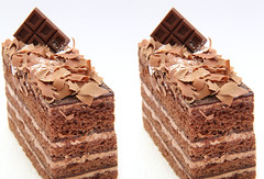 IMG_5511 chocolate cake (crosseye 3D) (yoshing_BT) Tags: cake stereophotography 3d crosseye crosseyed chocolate stereoview stereograph torta cioccolato    crossview ikolata corsseye    corsseye3d