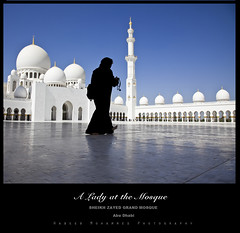 Lady at the mosque (Habeeb MD) Tags: silhouette minaret hijab courtyard mosque domes burqa whitemarble abudhabimosque sheikhzayedmosque burqacladlady whitemarblemosque