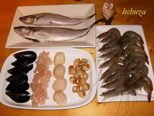Pastel de pescado y marisco-ingrs.