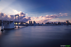 Cinema Paradiso - Tokyo Rainbow Bridge (Ken.Lam) Tags: sunset motion tower japan 30 river tokyo bay rainbow movement long exposure day smooth   odaiba epic  seconds nec brdige shibaura kenlamimages
