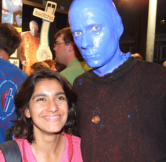 Monica meets a Blue Man