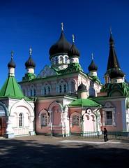 Pokrova Convent and Nun (Todor Kamenov 石拓) Tags: church nikon colorful ukraine monastery nikkor convent kyiv 1855mmf3556g nunnery skyarchitecture d80 pokrova nikonstunninggallery