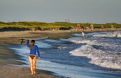 Surfer Headed Down Second Beach, Middletown, RI - by G.E. Long