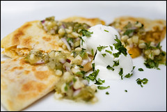 Chicken Quesadillas with Tomatillo-Corn Salsa ([Christine]) Tags: dinner recipe quesadillas quickandeasy