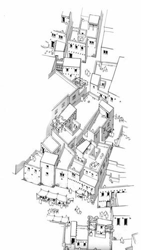 La « Ville Sud » sur le tell de Ras Shamra (proposition de restitution de la partie septentrionale, O. Callot 1994)