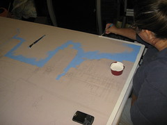 Jeni painting the border