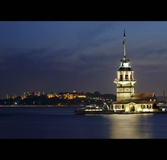 Kiz Kulesi (Maiden Tower)...Istanbul (i.rashid007) Tags: longexposure lighthouse turkey evening istanbul bluehour bluemosque hagiasophia kizkulesi maidentower