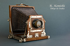 Konishi Field Camera (heritagefutures) Tags: camera wood portrait field japan cherry japanese tokyo portable king view pneumatic name plate double special half shutter osaka extension thin brass bellows thornton hasegawa takashi 5x7 honten wollensak konishi mid1920s kabine pickard asanuma rokuohsha konishiroku toshinosuke   12x165 rkonishi versar tj kamejir  rokuemon korudair