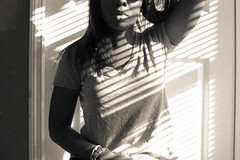 day 262. (ayana.) Tags: light shadow white black girl 35mm nikon african american blinds 18 d40 hairbw croplips