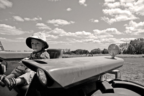 first-tractor-ride-bw