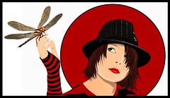 Gemma with a Dragonfly Vector (Lala Photography at JoLi Studios Colchester) Tags: red people black girl photoshop portraits design graphics punk graphic dragonfly vector rotoscoping trashbit leasepics