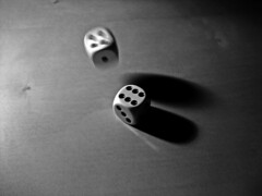 Suspense. (sinetempore) Tags: light shadow blackandwhite dice focus ombra dadi luce biancoenero suspense blackwhitephotos suspance