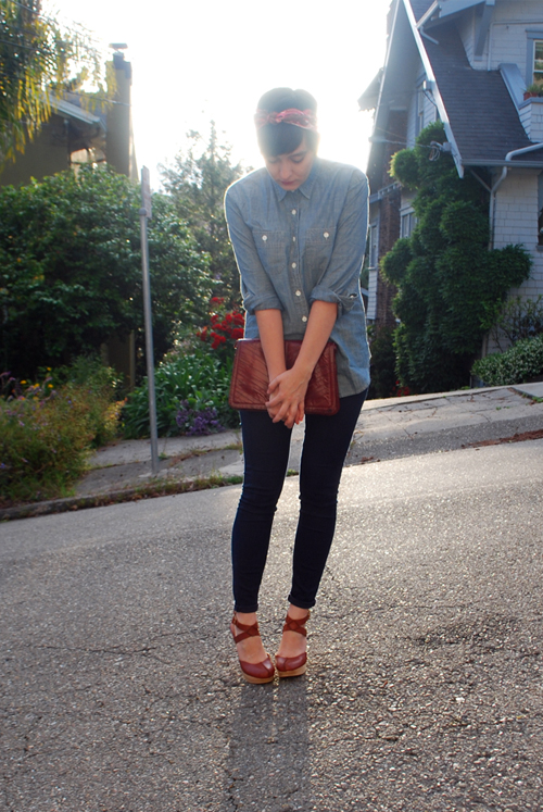blouse: j.crew selvedge chambray shirt jeans: current/elliot denim leggings shoes: platform clogs courtesy of seychelles scarf: thrifted vintage silk scarf purse: vintage clutch via a swap with what i wore