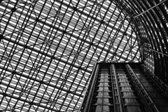 Illinois State Building (Amber Wilkie | www.amberwilkie.com) Tags: bw chicago building glass architecture downtown skylight dizzy