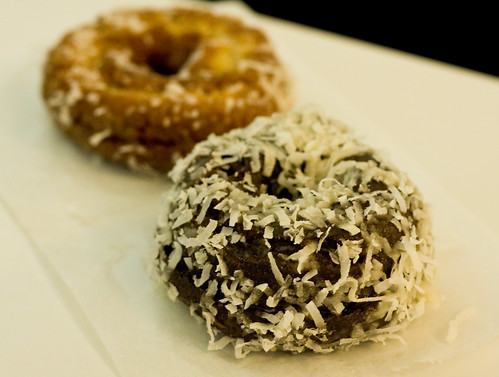 Chocolate coconut donut and regular coconut donut, Peter Pan