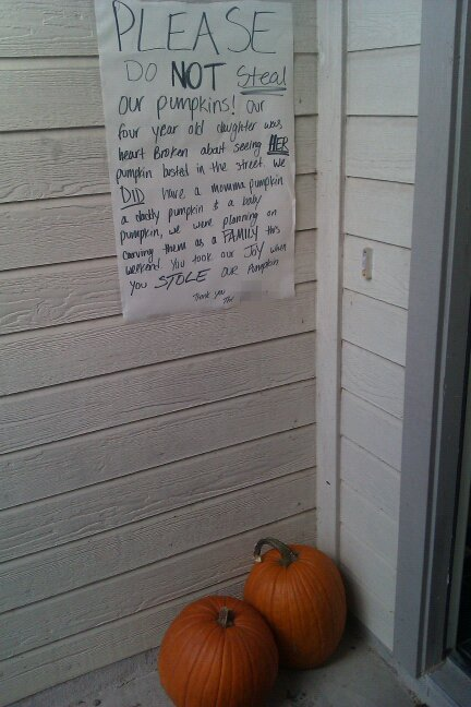 PLEASE DO NOT steal our pumpkins! Our four year old daughter was heart broken about seeing HER pumpkin busted in the street. We DID have a momma pumpkin, a daddy pumpkin and a baby pumpkin, we were planning on carving them as a FAMILY this weekend. You took our JOY when you STOLE our pumpkin.