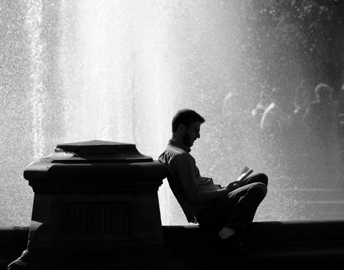 Reading next to the Wall of Water