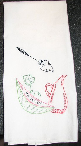 Vintage Embroidered Tea Towel