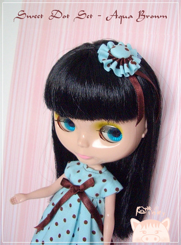 Aqua Brown - Sweet Dot Blythe Outfit Set by pinkypigs.