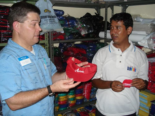 Gajendra Tamang, the Awana director for Nepal, shows Patrick some of the items produced locally for the Nepalese Awana clubs