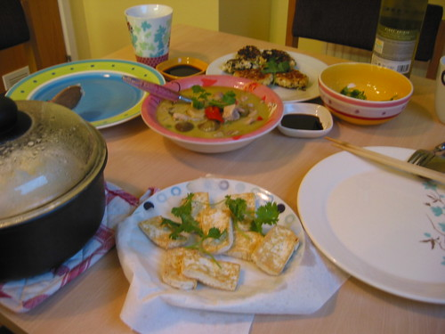 A big Sunday dinner - green curry, tofu cutlets, tofu and pinot grigio