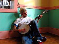 Favorite Chords (taberandrew) Tags: pink music house selfportrait guy me hat virginia aqua salmon banjo dude va instrument string appalachia harrisonburg moimme taber harrisonburgcity collicello facebook:user=7800364