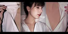 a misteriosa essncia do teu abandono desordenado. (Thabata Guerra) Tags: red portrait white black shirt self poser skin fingers lipstick friday tryptich viniciusdemorais ausncia