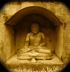Longing for Clarity (The Wandering Angel) Tags: travel bali sepia corner indonesia buddha statues altar thoughts zen creativecommons meditation tranquil ubud healthylivingrituals