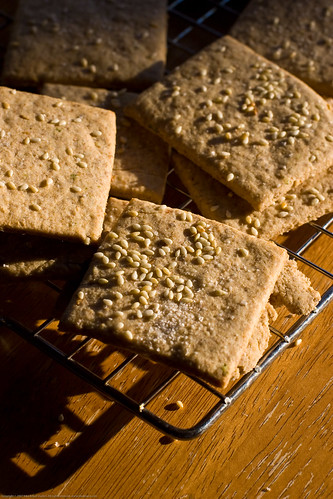 Homemade Rye Sesame crackers