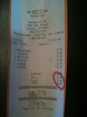 the receipt from our morning excursion that shows $0.00 owed for our breakfast.  Hooray!