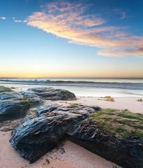 Welp (Daniel Fenner) Tags: ocean blue sunset cloud seaweed rock sunrise landscape moss nikon salmon wave australia nsw fenner nikond200 darkrock 1855mmf3556gii turimetta nikkor18553556 danielfenner