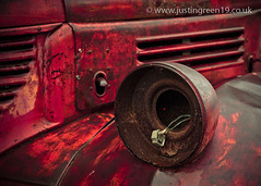 Unplugged (justingreen19) Tags: old light red toronto ontario canada lamp electric metal truck circle switch wire rust paint district lorry round plug chrysler headlamp van electrical distillery crusty fargo manufactured fuse unplugged