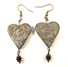Silver Heart Earrings with Garnet Swarovski Drop