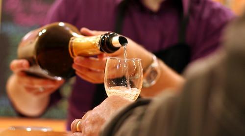 Serving wine for degustation